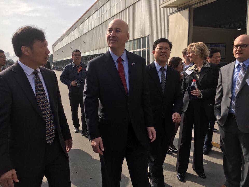 Gov Ricketts and Walker Zulkoski with Nebraska Delegation at JiangSu World Group - owners of Worldlawn Power Equipment