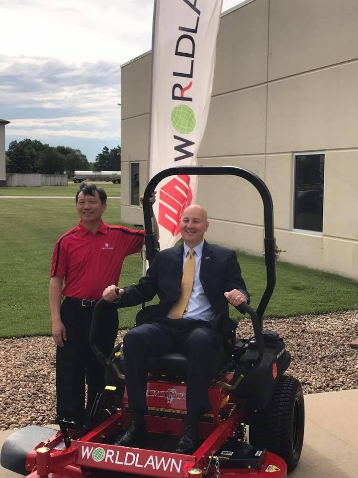 Governor Ricketts with Hardy Shao at Worldlawn - Beatrice, NE